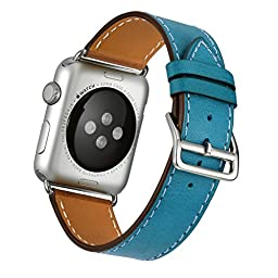 Kartice for Apple Watch Band Luxury Genuine Leather Watch Band Strap Bracelet Replacement Wrist Band With Adapter Clasp for iWahtch Apple Watch & Sport & Edition--Single tour blue 38mm