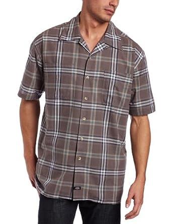 Dickies mens short sleeve plaid camp shirt gravel grey for Dickies short sleeve plaid shirt