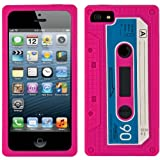 Magenta Audio Classic Cassette Silicone Case Cover Skin Protector For Apple iPhone 5 iOS (6) Smart Phone + PINK Cord Organizer + Apple iPhone 5 Screen Protector + an eBigValue TM Determination Hand Strap