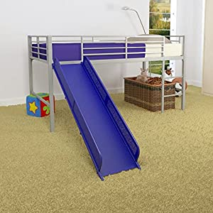 Dorel Home Dorel Home Junior Fantasy Loft with Slide -, Silver, Metal, Twin Loft Bed