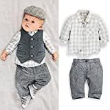 Furivy New Newborn Baby Boy Grey Waistcoat + Pants + Shirts Clothes Sets Suit 3pcs (Fit 75-85cm Baby)