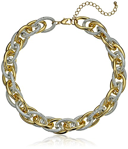"""Two Tone Textured Chain Necklace, 19"""""""