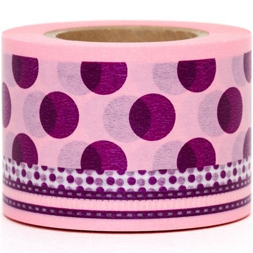 wide Washi Masking Tape deco tape with lilac polka dots