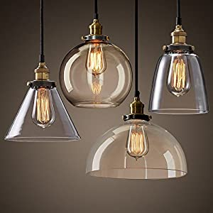 Modern Vintage Industrial Retro Loft Glass Ceiling Lamp Shade Pendant Light from Moonlight Retail