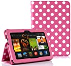 SUPCASE Amazon All-New Kindle Fire HDX 7 Slim Fit Folio Leather Case (Spotty Pink) - Elastic Hand Strap, Not Compatible with All New Kindle Fire HD 7/Kindle Fire HD 7 (2012 Version)/Kindle Fire HDX 8.9