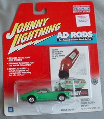 Johnny Lightning Ad Rods 1971 Chevy Camaro RS GREEN - 1