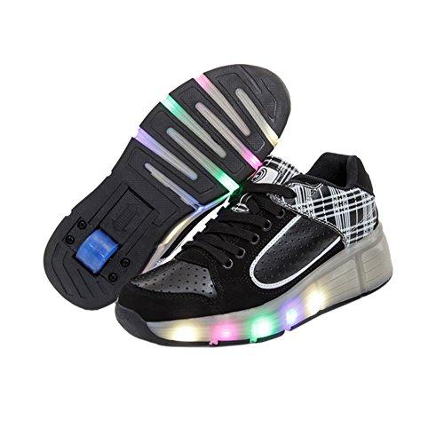 Teckey-2016-Sola-Rueda-Polea-Zapatos-Cordones-Deporte-zapatillas-de-Luminous-Luz-LED-para-hombre-y-mujer