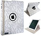 Xtra-Funky Range iPad MINI 1 / 2 / 3 Crystal Diamante PU Leather 360 Degree Rotating Smart Case with Auto Wake / Sleep Function + Screen Protector and Soft Tipped Stylus - WHITE