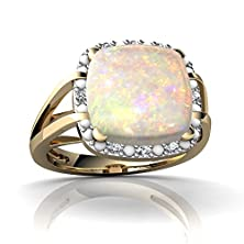 buy 14Kt Yellow Gold Opal And Diamond 10Mm Cushion Halo Cocktail Ring - Size 7