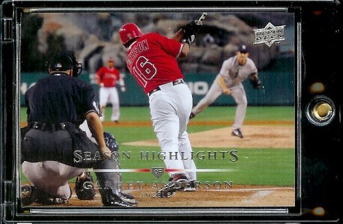 2008 Upper Deck # 388 Garret Anderson Hl Angels Season Highlight Mlb Baseball Trading Card In A Protective Screwdown Display Case
