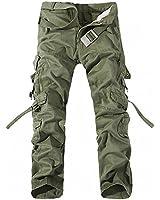 HEMOON Combat Pantalons Treillis Militaire Vintage Cargo pantalons jambe droite longues ( Sans ceinture)