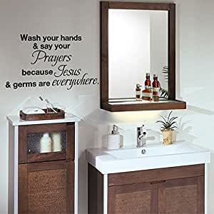 Wash your hands and say your prayers for Bathroom art amazon