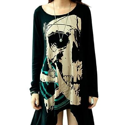 Women's Irregular Round Neck Long Sleeve Skull Pattern Loose Top Plus Size Shirt