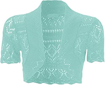 WearAll - Boléro crochet - Hauts - Femmes - Aqua Bleu - 36-38