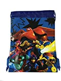Disney Big Hero 6 Mech Bay Max, Hero, Wasabi, Honey Lemon, Tomago and Fred Drawstring String Backpack School Sport Gym Tote Bag!- Blue