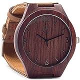 Tree People - Mens Wooden Watch, Sandalwood w/ Calfskin Leather Strap, Japanese Quartz Movement