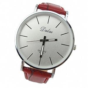 Youyoupifa Best Birthday Gift Fashion PU Leather Strap Quartz Wrist Watch (Red)