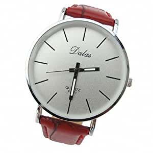 Youyoupifa Best Birthday Gift Fashion PU Leather Strap Quartz Wrist Watch (Red)