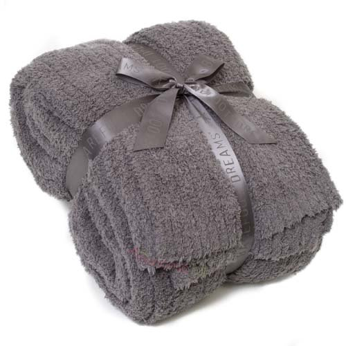 Barefoot Dreams Cozychic Ribbed Queen/King Blanket, Color: Charcoal front-1008605