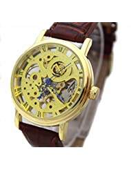GT Gala Time Skeleton Mechanical Hand Winding Brown Leather Strap Gold Case Wrist Watch For Men MECH-023