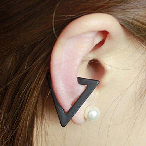 HUAYANG Unisexe Clip à Oreille Style Punk Triangle Forme Bijou Ornement d'Oreille Boucle d'Oreille(Noir)