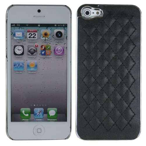 Black Silver Quilted Leather Crystal Case Cover Faceplate For Apple Iphone 5 5S With Free Pouch front-49180