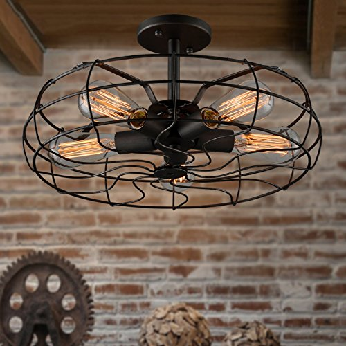 Electro_BP; Vintage Style Metal Art Ceiling Light Max 300W With 5 Lights Painted Finish 1