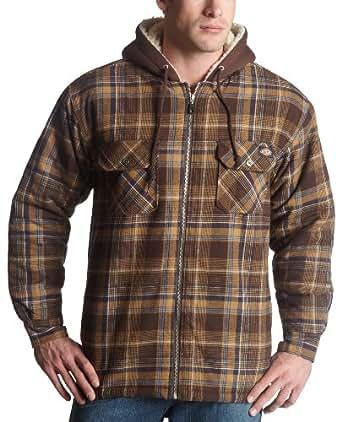 Dickies Men 39 S Sherpa Lined Flannel With Hood Dark Brown
