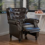 Great Deal Furniture 296610 Waldo Brown Leather Recliner Club Chair