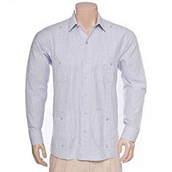 Deluxe Long Sleeve White-Grey Stripped Guayabera