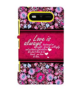 Love Is Always Best 3D Hard Polycarbonate Designer Back Case Cover for Nokia Lumia 820 :: Microsoft Lumia 820