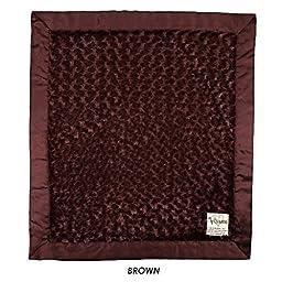 My Blankee Luxe Snail Back Satin Flat Satin Border Blanket, Chocolate Brown, 28\