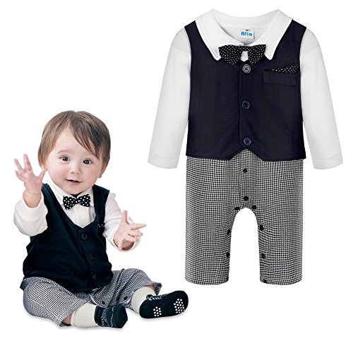 Baby Boys Jumpsuit Romper & Vest & Bowtie 3 Pieces Clothes Gentleman Tuxedo Suit
