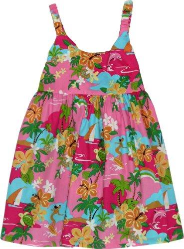 Elastic Strap Dress - Hawaiian Vacation Activities Empire Drawstring Back Hawaiian Aloha Sun Dress in Pink - 3T