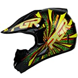 PGR X25 Youth VORTEX Motocross MX BMX Dirt Bike Dune Buggy Enduro ATV Quad Off Road DOT Approved Helmet (Youth L, Black/Green)