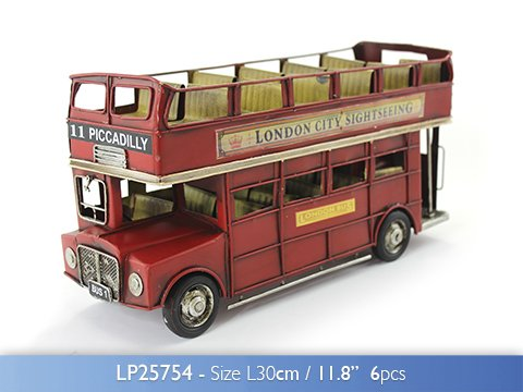 Brand New Vintage Metal Tin Open Top London Bus Decorative Ornament 30cm