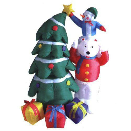 5' Airblown Inflatable Snowman And Polar Bear With Christmas Tree Lighted Yard Art Decoration front-140754