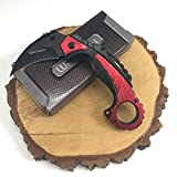 Wartech Thumb Open Spring Assisted Eagle Angle Aluminum Color Handle Karambit Pocket Knife (PWT241RD)