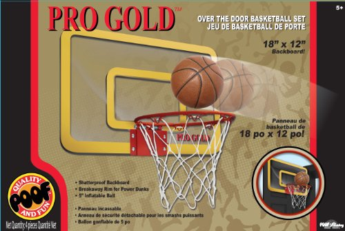 Poof-Slinky - Pro Gold Over The Door 18-Inch Breakaway Rim Basketball Hoop Set With Clear Shatterproof Backboard And 5-Inch Inflatable Ball, 455Bl