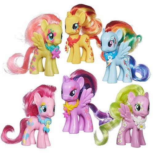 My Little Pony Cutie Mark Magic Figure Set of 6 - Flower Wishes, Sunset Shimmer, Rainbow Dash, Pinkie Pie, Fluttershy & Princess Twilight Sparkle