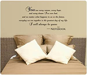 I Will Always Be Yours Wall Decal Quote Vinyl Love The Notebook Large Nice Sticker from Value Decals
