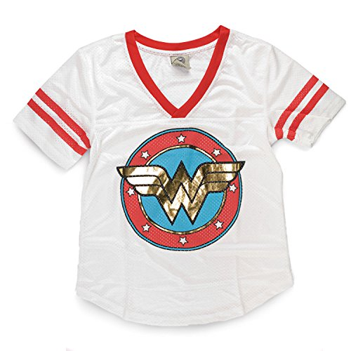 Bio World Wonder Woman Gold Foil Mesh Jersey Juniors White Tee