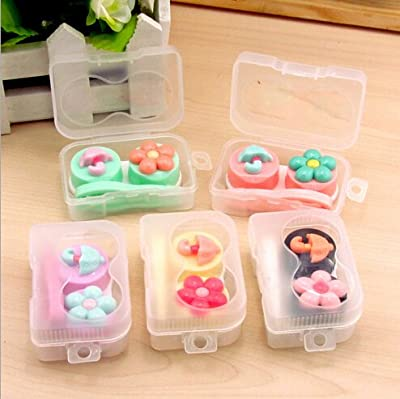 1pcs Flower Contact Lens Dual Case Container contact lenses mate box Glasses case OFFICE-410