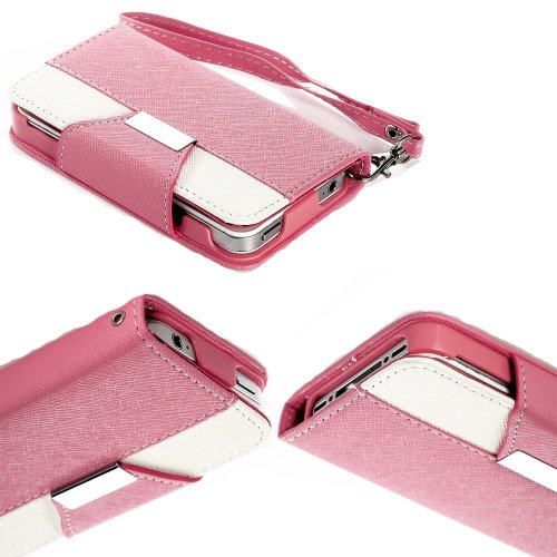 Mylife (Tm) Bubblegum Pink And White Classy Design - Textured Koskin Faux Leather (Card And Id Holder + Magnetic Detachable Closing) Slim Wallet For Iphone 4/4S (4G) 4Th Generation Touch Phone (External Rugged Synthetic Leather With Magnetic Clip + Intern