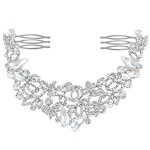 Ever Faith Silver-Tone Austrian Crystal Bridal Rose Flower Double Hair Comb Clear N04397-2