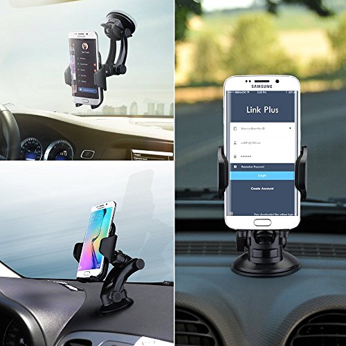 Pictek Easy One Touch Windshield Dashboard Car Phone Mount - Adjustable Car Braceket with 360 Degree Rotation for Iphone 6 6s Plus and More