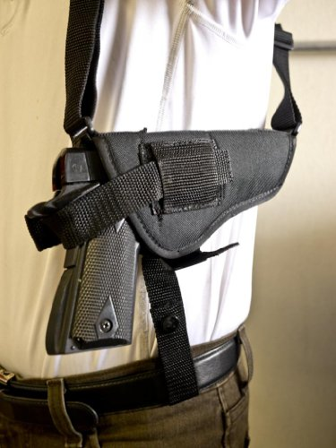 OUTBAGS OB-04SH (LEFT) Nylon Horizontal Shoulder Holster with Double Mag Pouch for Remington R1, Rock Island 1911, Ruger SR1911, Colt Govt, Colt 1911 .45 / Gold Cup, Kimber HD 1911, HI-Point JHP, and Most 5