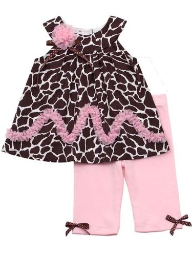 Brown Animal Print Top And Pink Legging Set 5