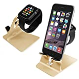 Orzly® - DuoStand Charge Station for Apple Watch & iPhone - Aluminum Desk Stand Cradle in GOLD with Built-In Insert Slots for both Grommet Wireless Charger and Lightning Cable for use as a fully functional Charging Station / Dock for both your Apple Watch