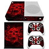 SKINOWN Skin Sticker for Microsoft Xbox One S Slim Console and 2 Controller (Color: Red Skyll)